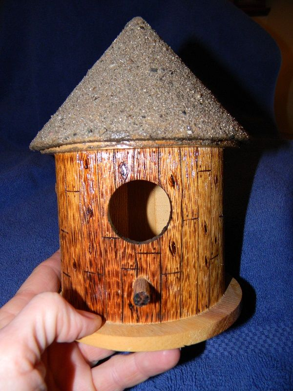 birdhouse wood burned and I put glue
