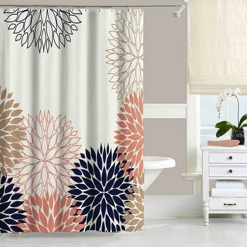chrysanthemum shower curtain and bath mat set in blue and pink in rh pinterest com