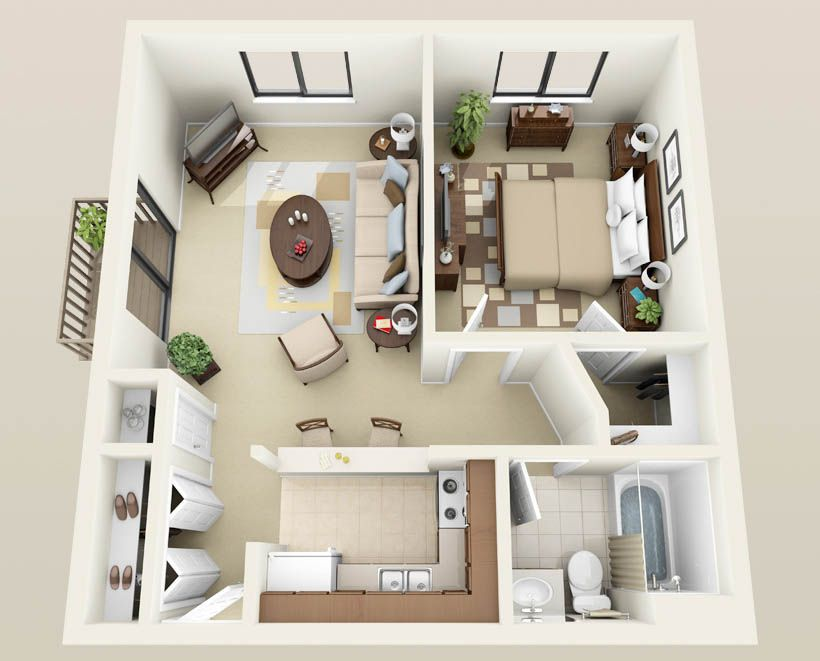 Studio Apartment Layout Small House Interior Design
