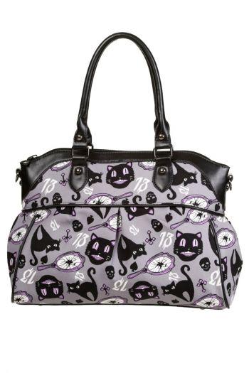 BANNED Goth Bats Faux Leather Handbag Shoulder Bag Gothic Vampire Black PURPLE