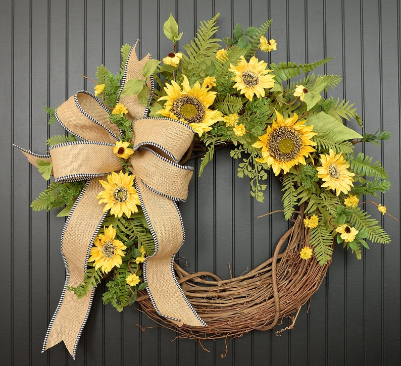 Photo of Spring wreath, summer wreath, sunflower wreath, sunflowers, summer, ferns, garden decor, front door wreath, farmhouse, burlap wreath