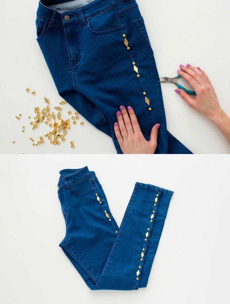 1042e36025 15 Impresionantes maneras de darles un toque especial a tus viejos jeans  favoritos. Resultado de imagen para manualidades de sandalias con cintas.  jeans ...