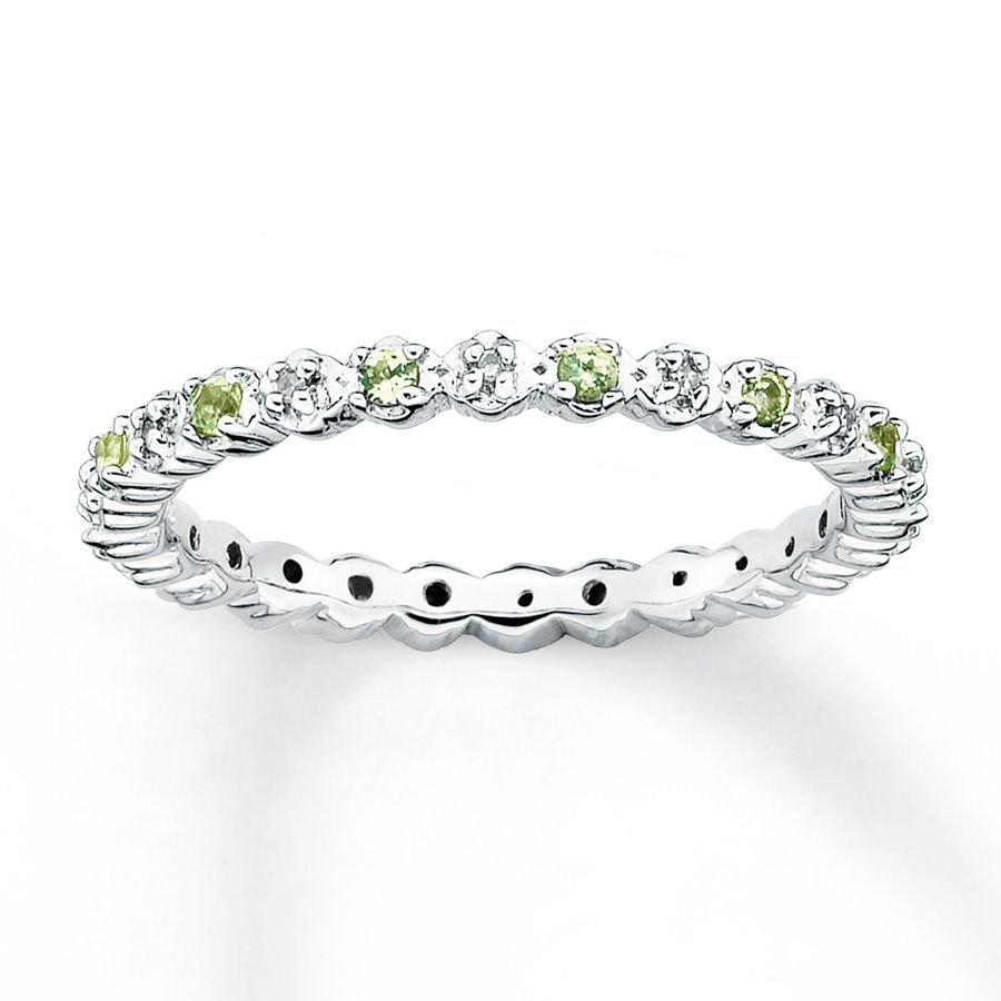 peridot wedding rings This stackable eternity band is set with alternating diamonds and peridots It has a total Stackable Birthstone RingsStackable Diamond