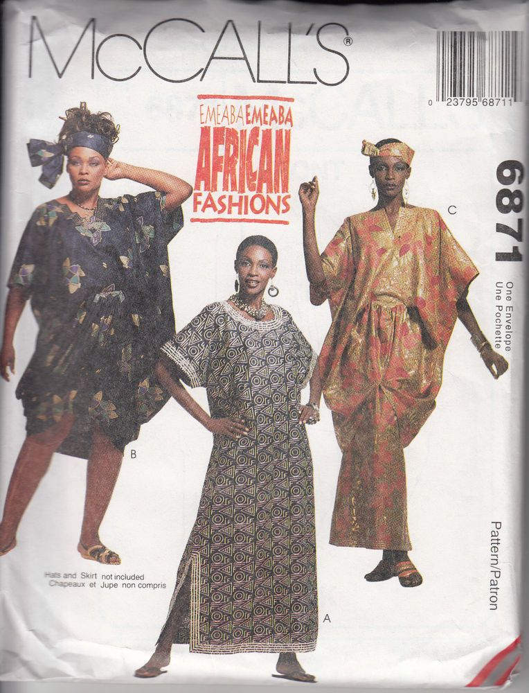 Vintage McCall's Misses Caftan Tunic Sizes 6060 African Fashions New African Sewing Patterns