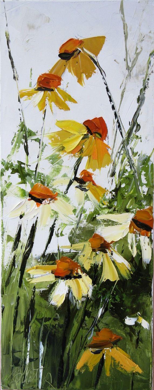 Les Fantaisistes Au Jardin ..... : Peinture figurative : peinture à l'huile au couteau sur toile de coton : dimensions = 20/50 cm ..... : Peintures par les-reves-de-minsy