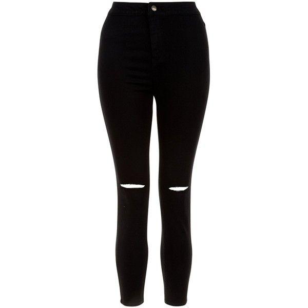 New Look Petite Black Ripped Knee High Waist Super Skinny
