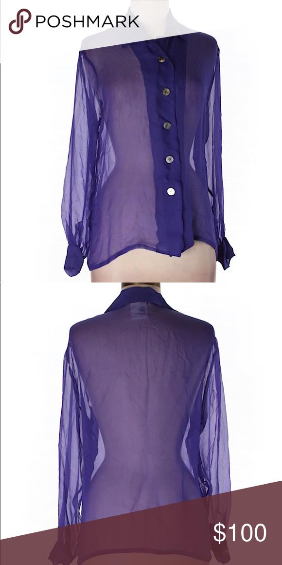 ed1b15d951c Yves Saint Laurent Sheer Silk Top...Sz: 8...Blue Description: * Long sleeve  * Dark Blue Measurements: 34