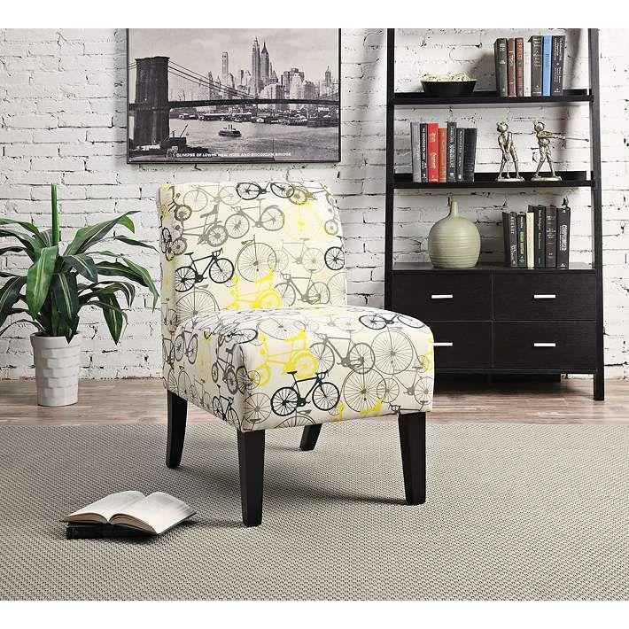 Best Yen Bike Pattern Fabric Armless Accent Chair Upholstered 400 x 300