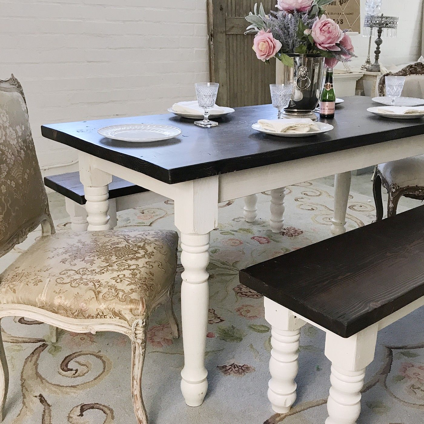 Bella french farmhouse dining table with dark top in 2020