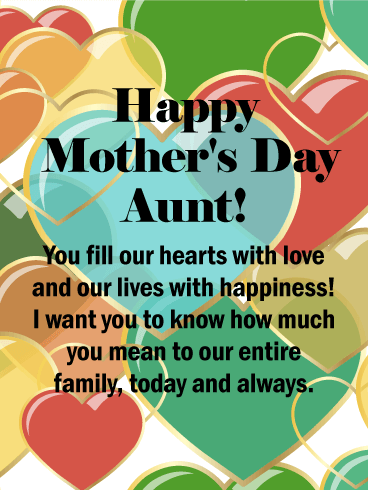 Colorful Hearts Happy Mother S Day Card For Aunt Birthday Greeting Cards By Davia Happy Mother Day Quotes Mother Day Message Happy Mother S Day Aunt
