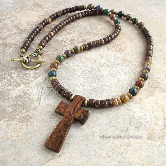 Unisex Wood Cross Necklace Multi Color Bloodstone Coconut Palm