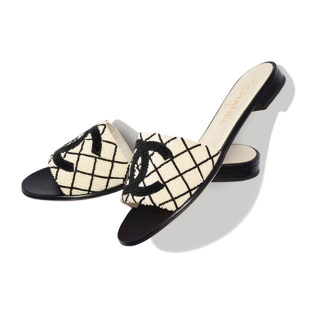 Chanel mules, Pearl embroidery, Black mules