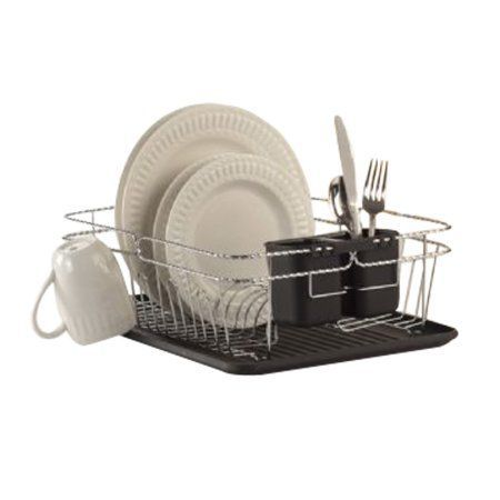 Dish Drying Rack Walmart Alluring Kitchen Details 3Piece Twisted Dish Rack Chrome 165 Inch X 125 Design Ideas