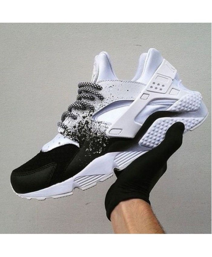 b6e61bf7fedb Nike Air Huarache Custom Black White Spray Painting Trainer Very bouncing