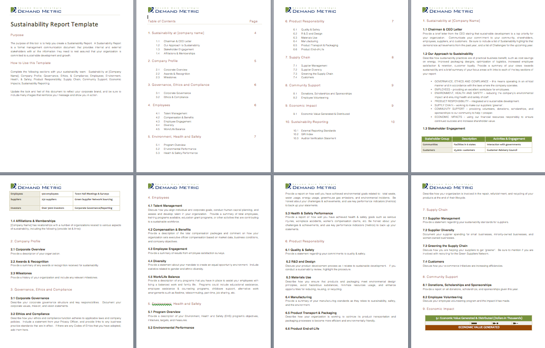 Sustainability Report Template  A Comprehensive Page Template