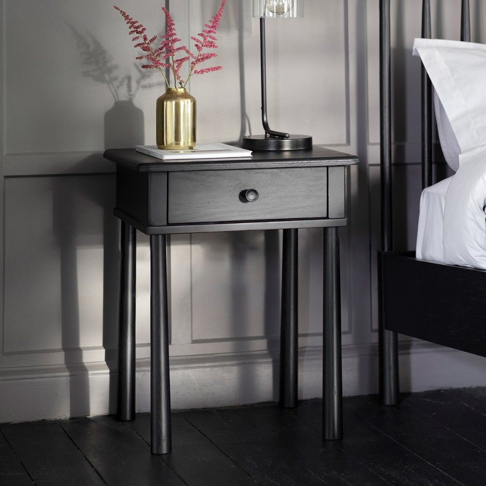 Tables Houseology Collection Wheatley 1 Drawer Bedside Table Black Side Table Wooden Bedside Cabinets Black Bedside Table Matching Furniture