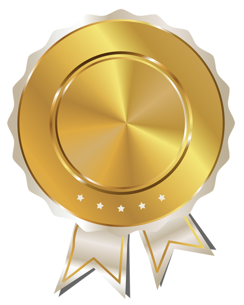 Gold Seal With White Ribbon Png Clipart Image Bingkai Sertifikat Penghargaan Aksesoris