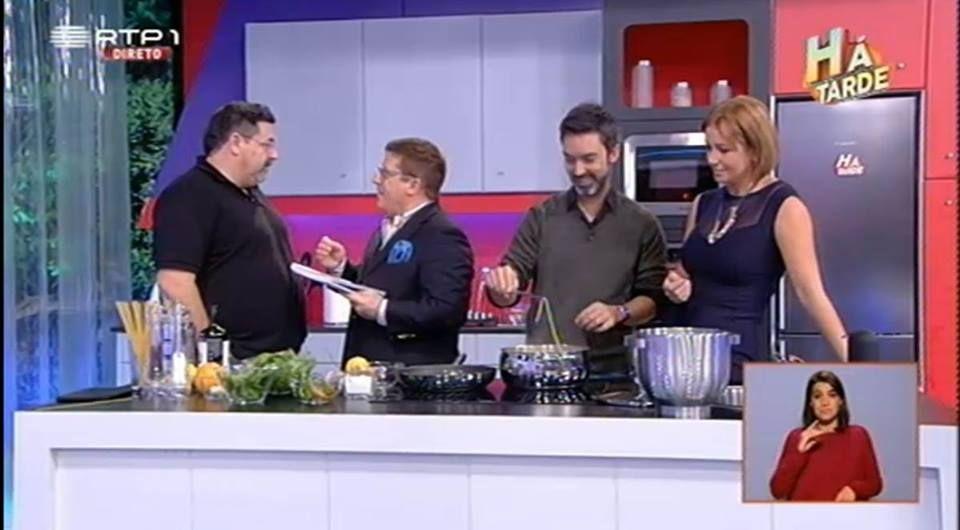 Programa Há tarde RTP1 com Chef Henrique Sá pessoa, Herman José, Vanessa Oliveira e Carlos Malato