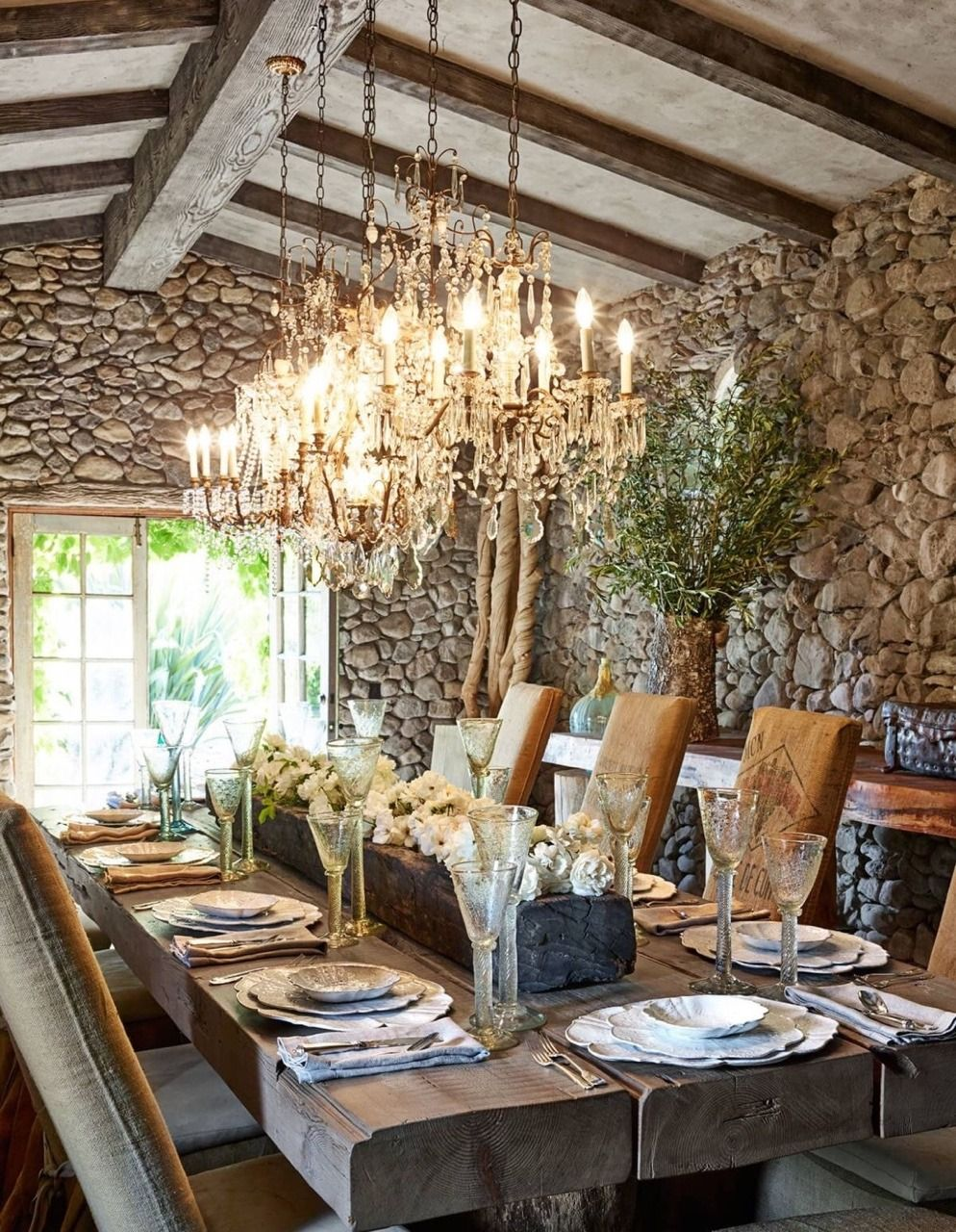 stone walled dinning room stone mountain client dining room rh pinterest com