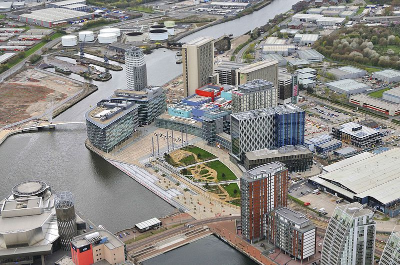 Great aerial shot of MediaCityUK.  The University of Salford is the cross-hatch pattern building in the middle.