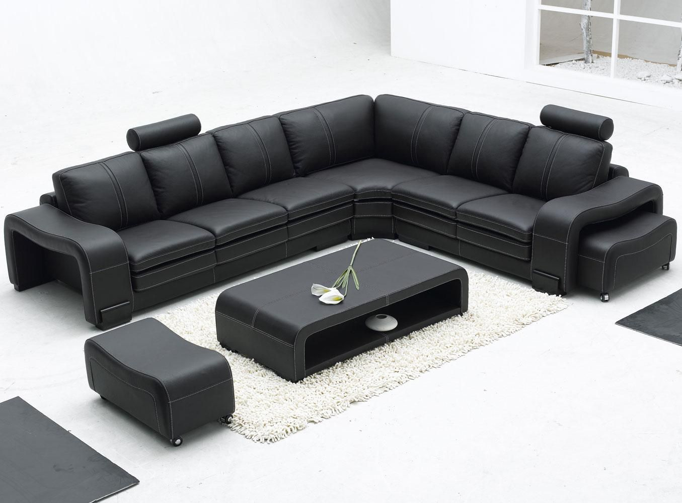 Remarkable Modern Bonded Leather Sectional Sofa In Black With L Shape Design