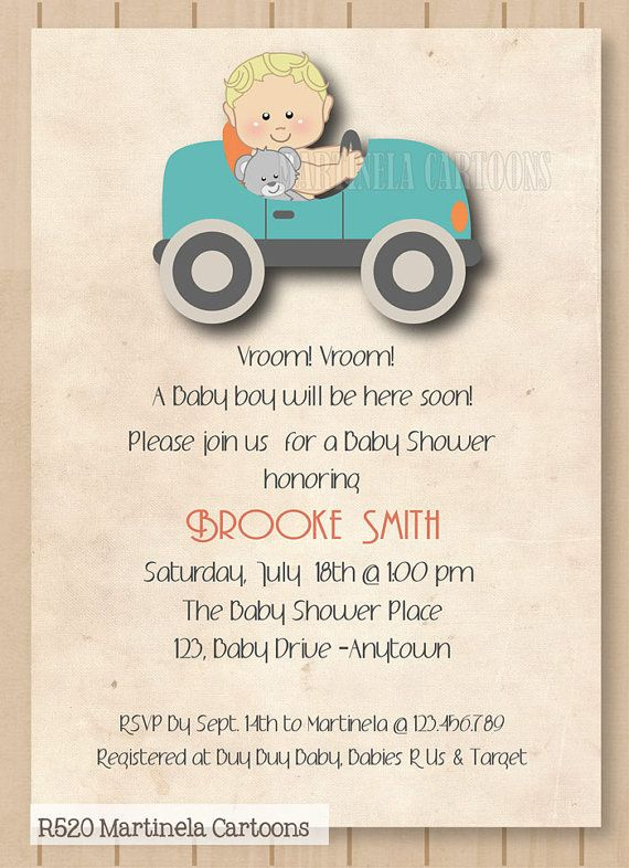 Vintage Car Baby Shower Invitation Retro Style Digital Printable Theme Invitations For Boy