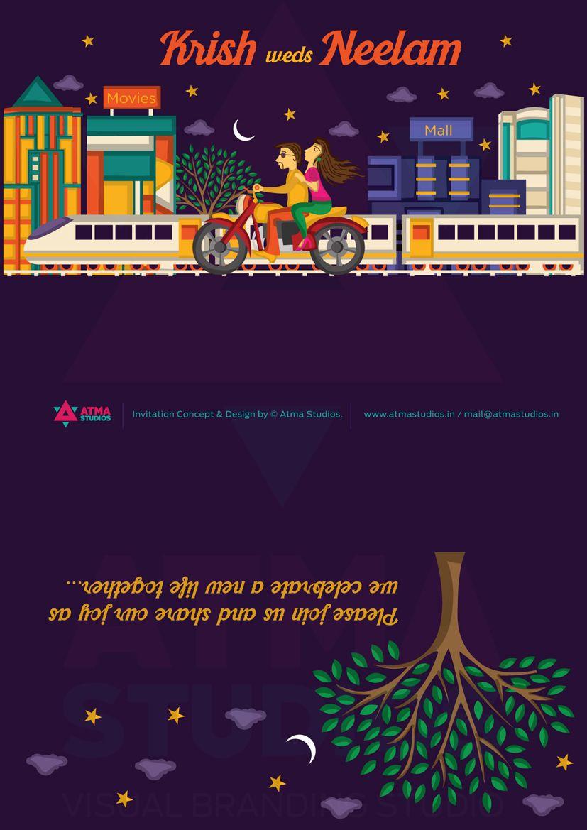 Metro Love Indian Wedding Invite Print Ready Template indian – Studio Cards Wedding Invitations
