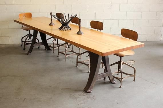 vintage industrial 10 conference dining table w cast iron legs rh pinterest com