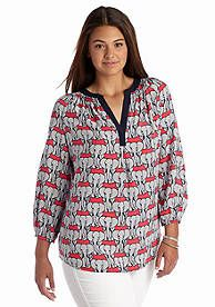 crown & ivy™ Plus Size Elephant Print Three-Quarter Sleeve Peasant Blouse