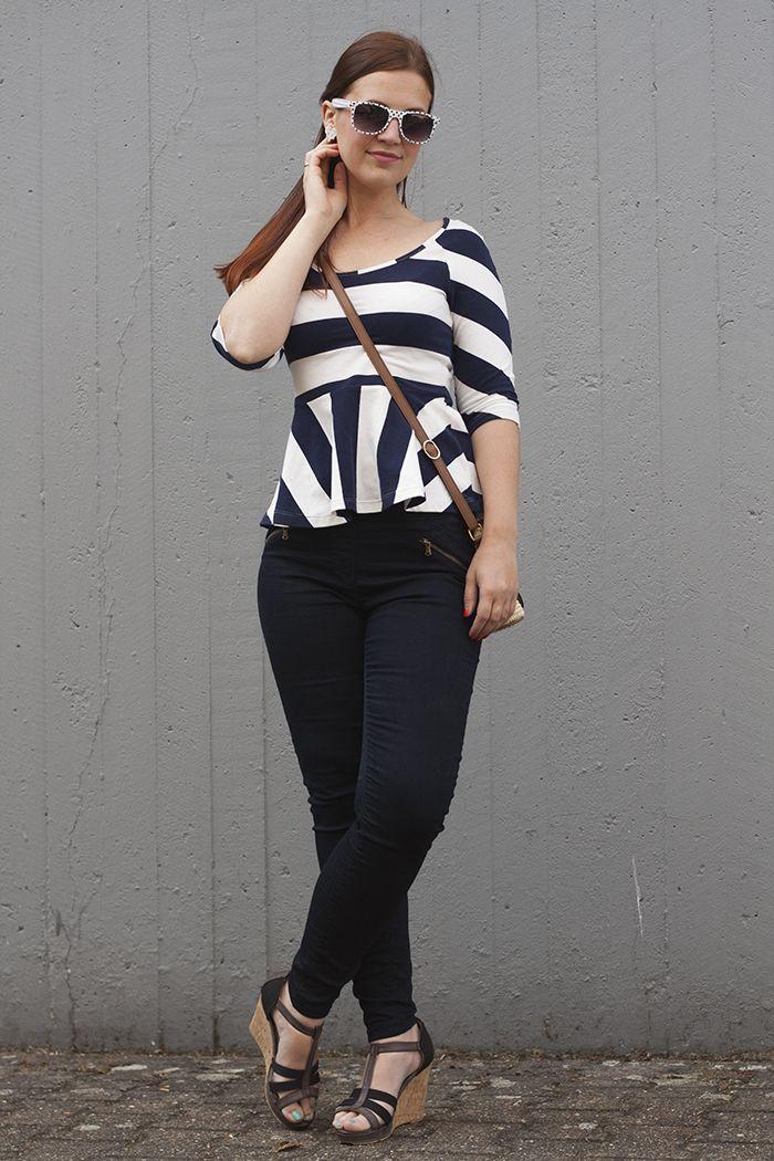 Hannah Saar in a striped peplum and jeans + polka dot sunglasses from Sunglass Warehouse