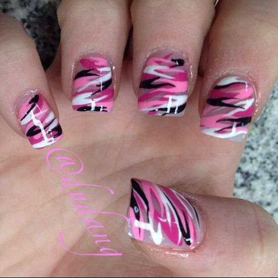 Beautiful camo nail art - keep it pink or switch to a more neutral color  base! - Pink Camo Nails - Hair-sublime.com Nail Designs Pinterest