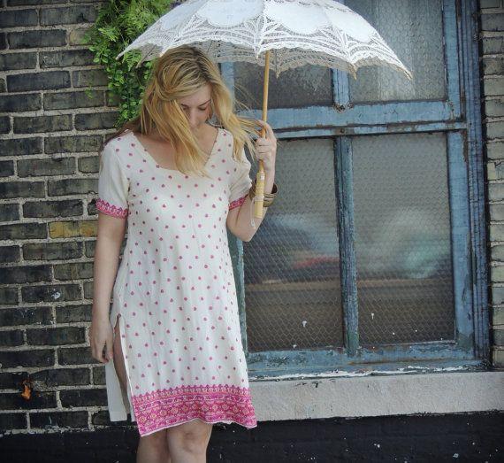RESERVED/Bohemian Summer Dress / Embroidered Dress / Pink / Cream /Ethnic Dress /Cotton Day Dress / Boho Chic Dress / Resort Dress / Ivory