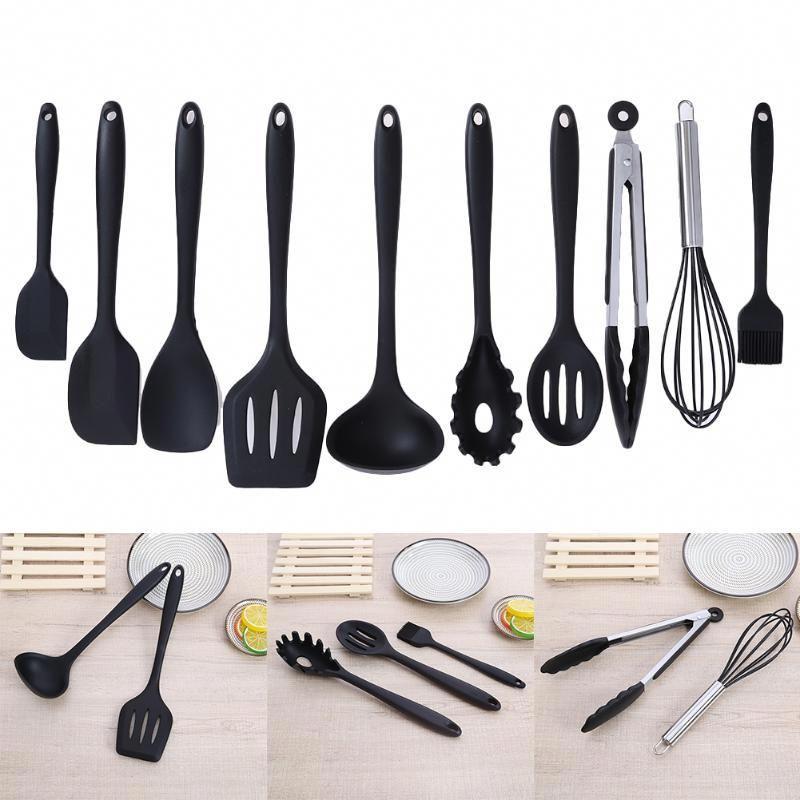 10 piece silicone kitchen utensil set red or black b rh pinterest com