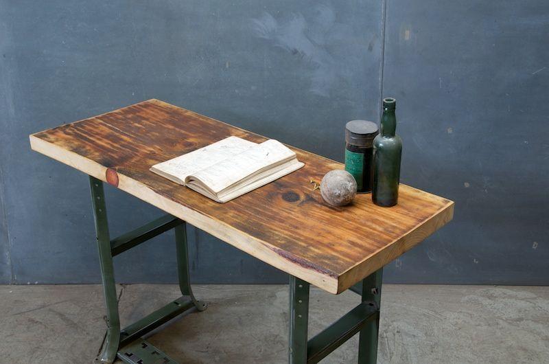 usa c 1940s industrial factory clerk s slab wood desk table steel rh pinterest com