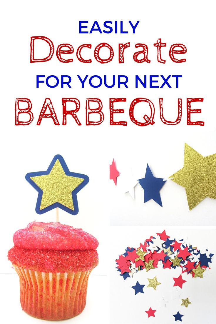 Easily Decorate for your next barbeque with cupcake toppers, confetti and a banner from Simply Paper Perfect. www.SimplyPaperPerfect.etsy.com