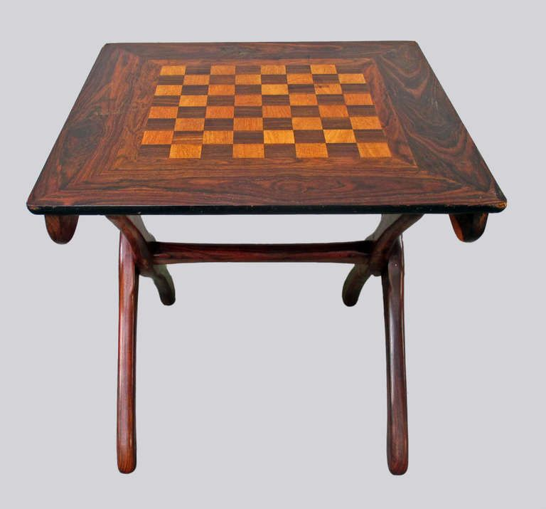 Don Shoemaker Folding Chess Table Tropical Woods Image 2