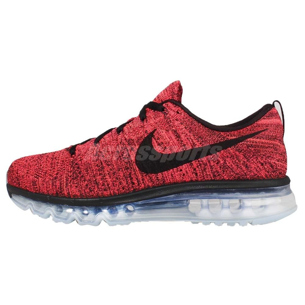 pretty nice 7e7a6 1b116 Nike Flyknit Max Red Black Mens Running Shoes Sneakers Air Max 360  620469-006