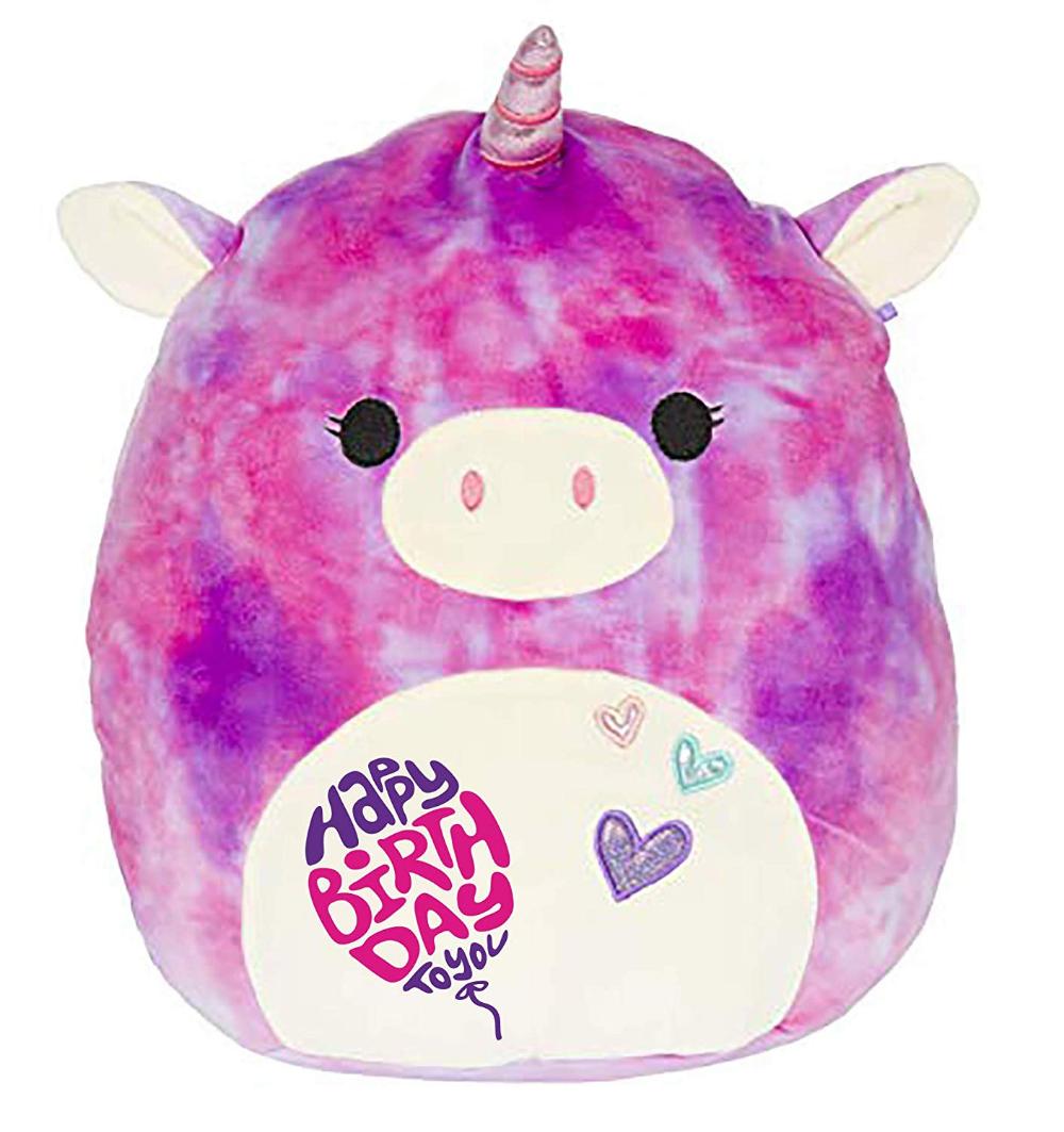 Limited Edition Happy Birthday Squishmallow Pre Customized For Birthday Original Kellytoy 13 Unic Unicorn Stuffed Animal Animal Pillows Monkey Stuffed Animal