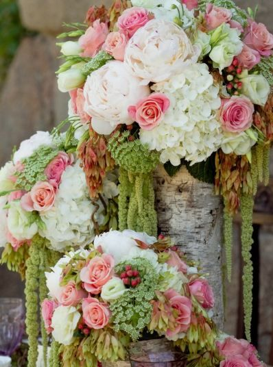romantic reception wedding flowers,  wedding decor, pink green wedding flower centerpiece, wedding flower arrangement, add pic source on comment and we will update it. www.myfloweraffair.com