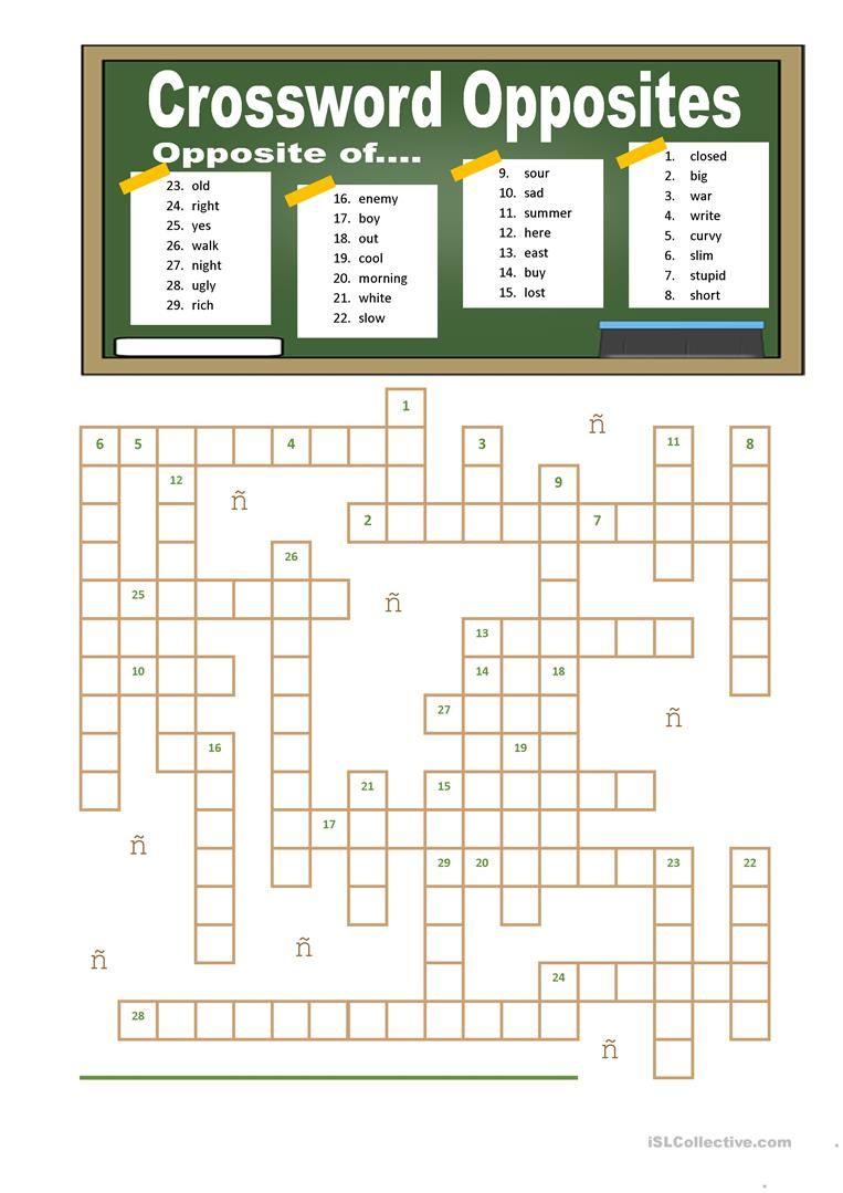 Crossword Opposites With Images Opposites Worksheet Crossword