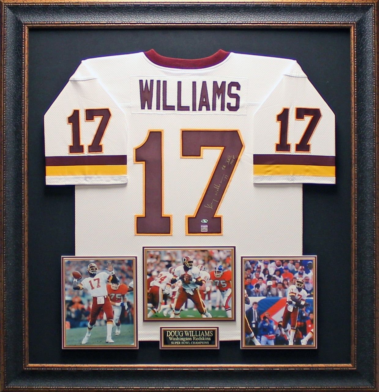 Doug Williams Autographed Jersey Framed Autographed