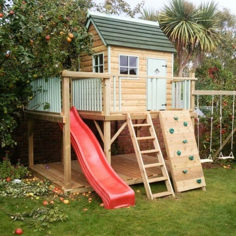 Spielhaus Mit Rutsche Und Kletterwand Kinderspielhaus Garten Kinder Spielhaus Garten Garten Spielplatz