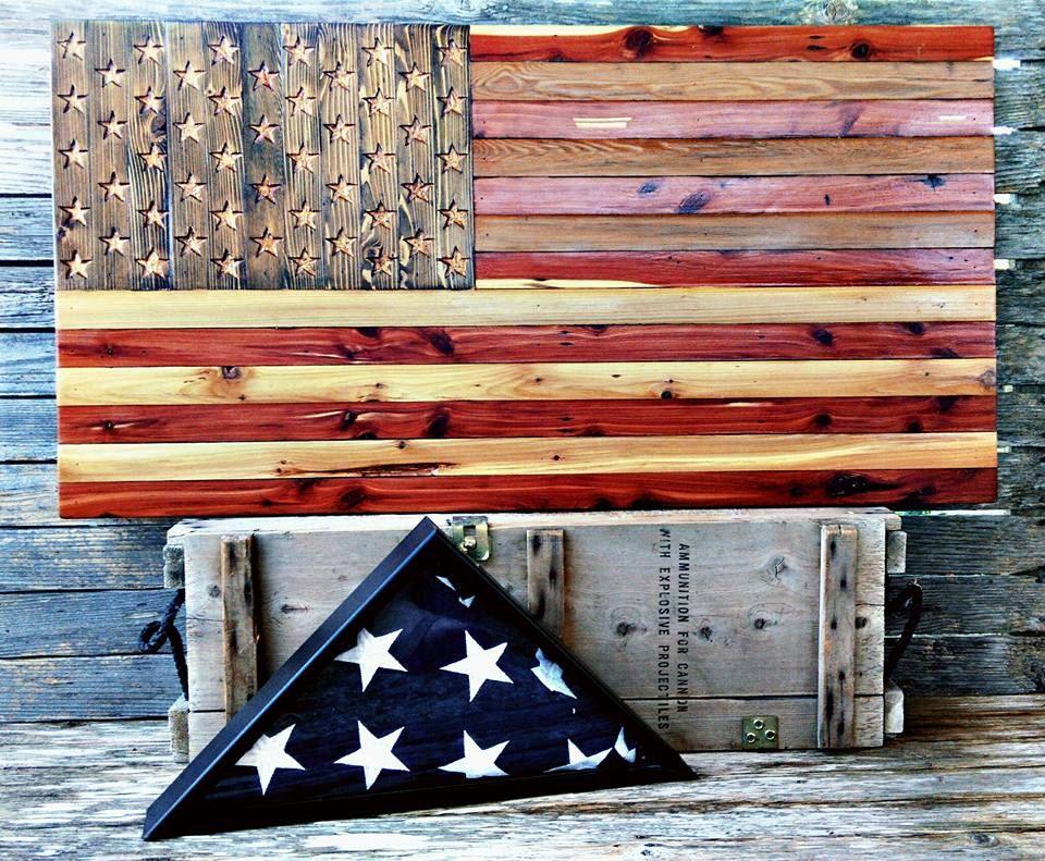 American Flag Wooden Barn Wood America Hand