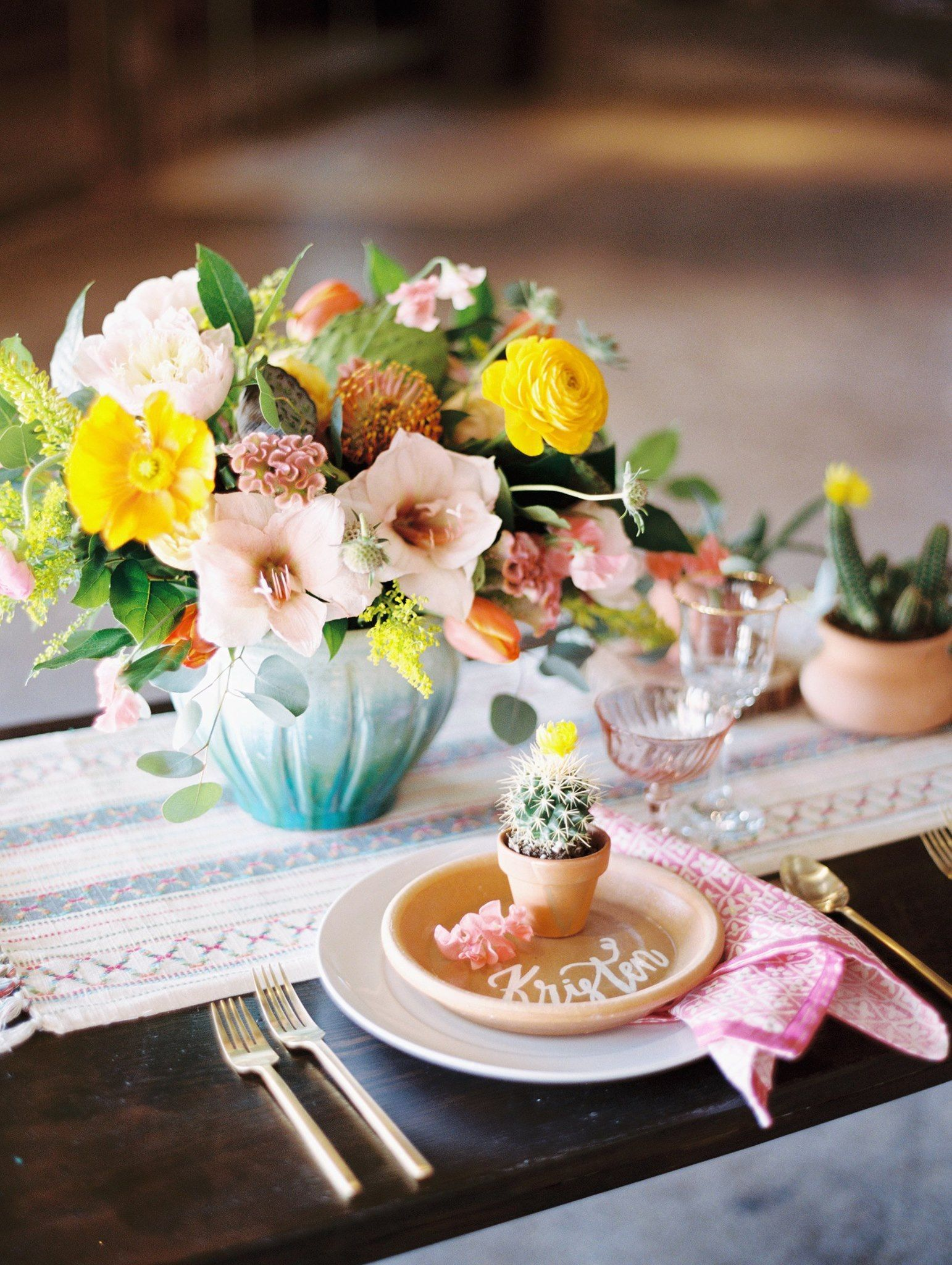 Colorful Wedding Center Pieces Cactus Wedding Flowers Yellow And