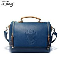2016 Double Crown Design Women Messenger Bags Vintage Shoulder Bags PU Leather Handbag Small Bag With Print Free Shipping