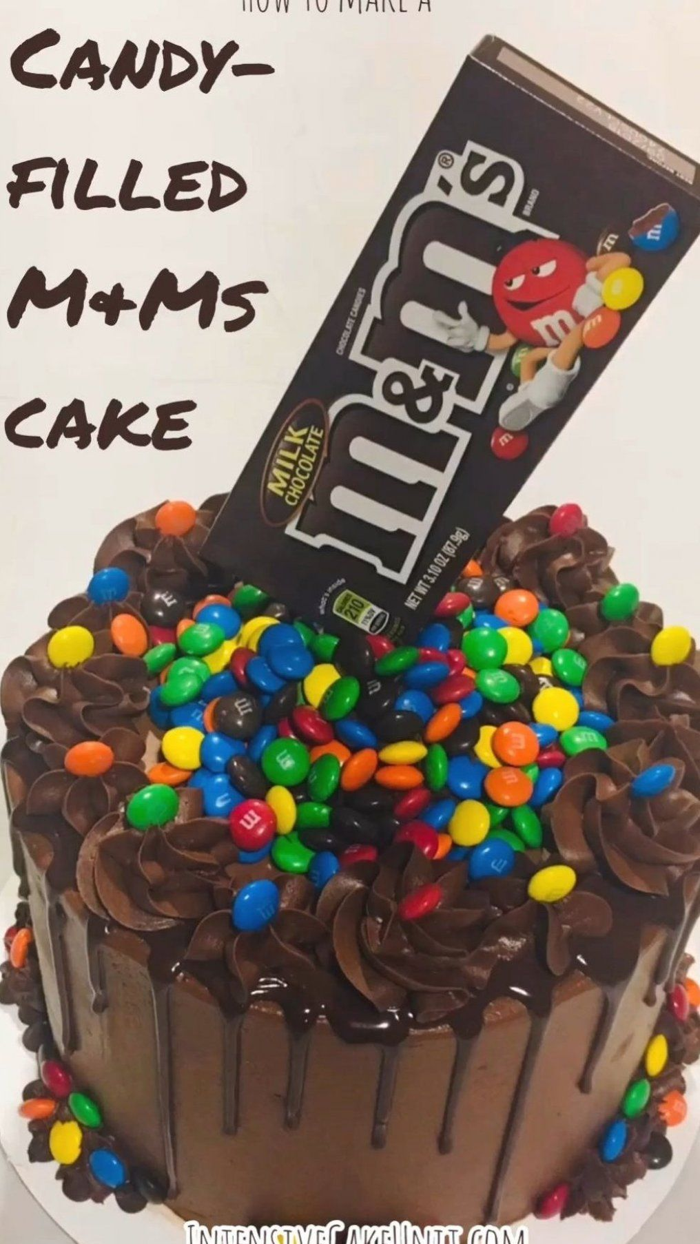 Easy M Ms Cake Chocolate Cake Filled With M Ms Candy And Topped With A M Ms Box For A Cool Anti Gravi Chocolate Cake Decoration Candy Cakes Yummy Food Dessert
