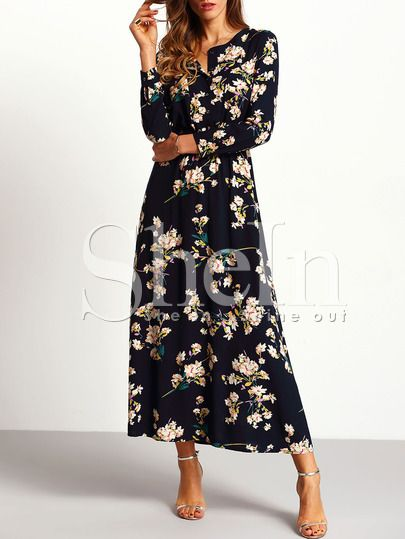 21de4eb3d6a92 Shop Navy Long Sleeve Floral Maxi Dress online. SheIn offers Navy Long  Sleeve Floral Maxi Dress & more to fit your fashionable needs.