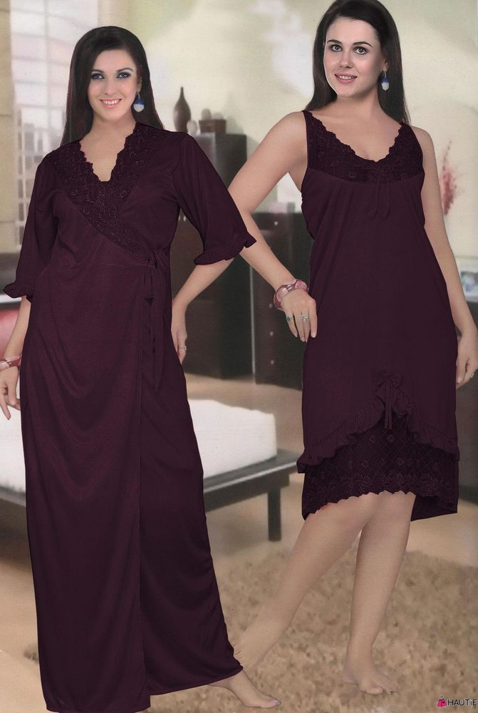 76917ce8e6 LADIES DESIGNER LONG SATIN AND LACE DRESSING GOWN ROBE WOMENS NIGHTDRESS in  Clothes
