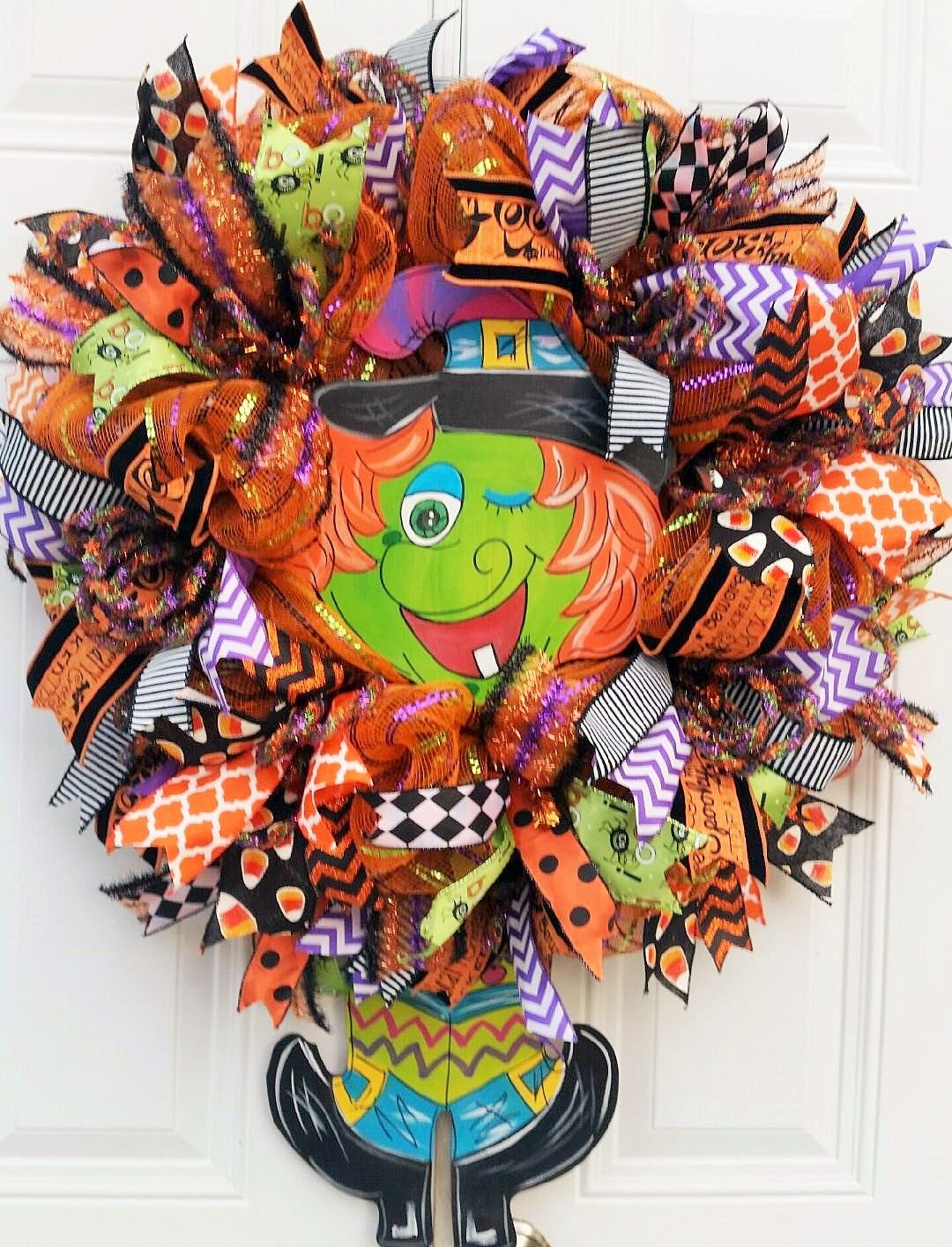 Halloween Witch Wreath-Witch Door Wreath-Halloween Wreath-Whimsical - Whimsical Halloween Decorations