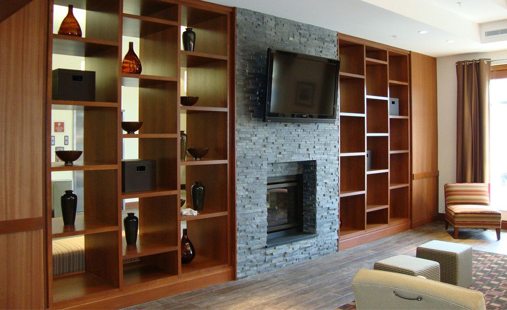 living room wall cabinets built%0A Dark Stacked Stone Fireplace with Built Ins  contemporary  living room   jacksonville  by Realstone Systems